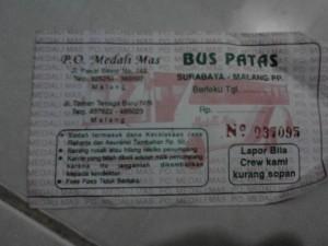 Ini ticket yang seharga Rp.26.000,- (PO. Medali Mas)